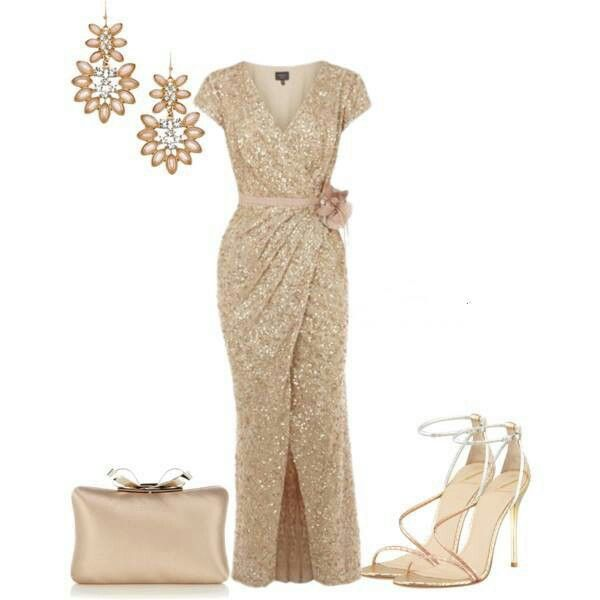Sexy gold dress & accessories!