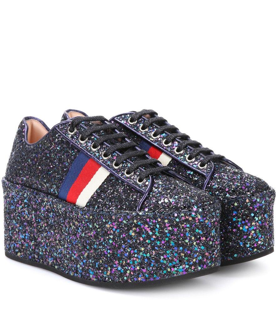 Sneakers platform con glitter Gucci EL5kUqsdJ