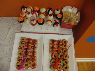 Asian Themed Party!  Candy Sushi and Sushi Cake Pops