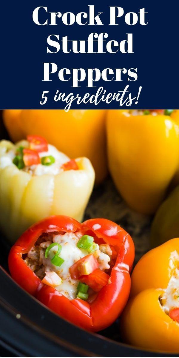 Crock Pot Stuffed Peppers Recipe 5 Ingredients Sweetpeasandsaffron Com Recipe Stuffed Peppers Whole Food Recipes Recipes