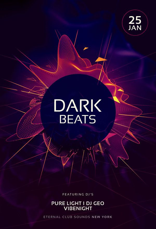 Dark Beats Flyer By StyleWish Download PSD File 9 Desing Y
