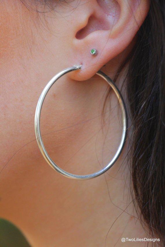197a74cb5716e Large hoop earrings, Silver Hoops, Simple Silver earrings, 51mm ...