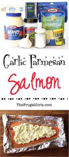 Grilled Salmon in Foil Recipe! {Garlic Parmesan} Add this delicious, decadent seafood dish to your dinner menu this week. SO easy and packed with flavor! | TheFrugalGirls.com #seafooddishes