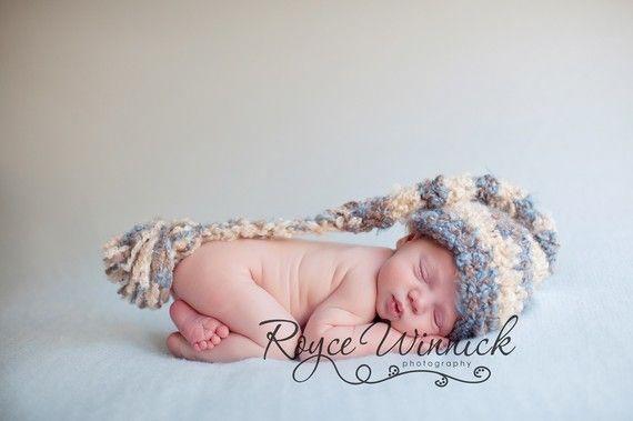 Striped Long Tail Elf Baby Boy Crochet Hat by BabiesBugsAndBees, $14.99 @BabyList Baby Registry Baby Registry