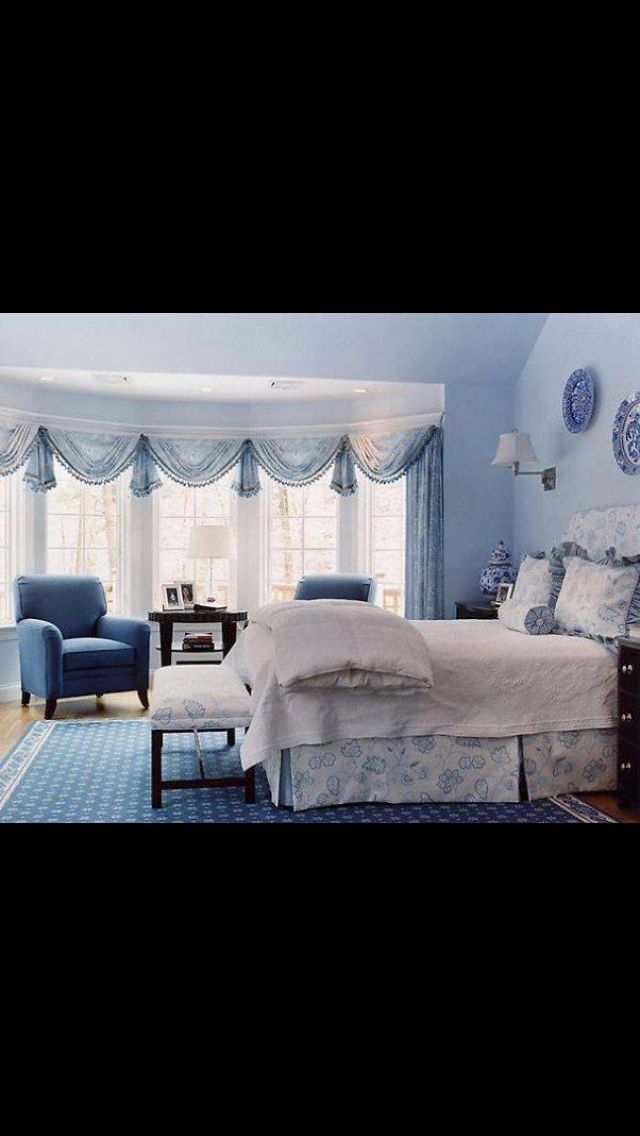 Bed room blue white romantic Bedroom - Schlafzimmer Pinterest