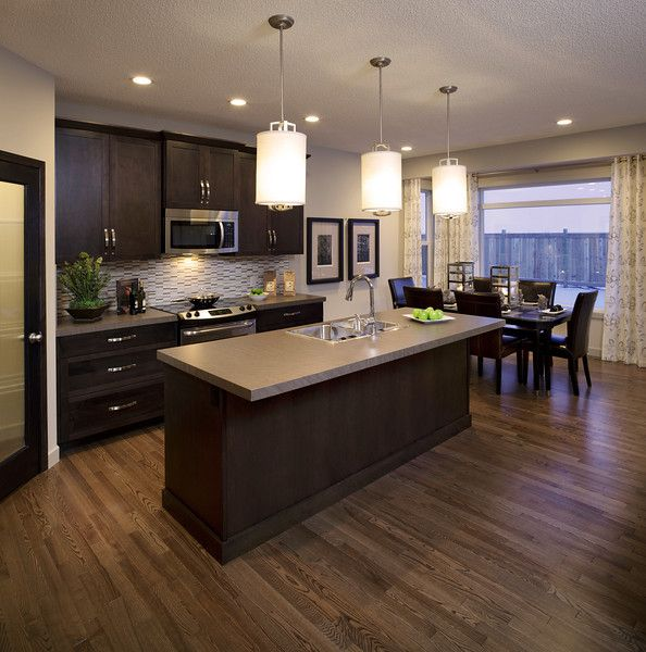 Modern Maple Cabinets With Dark Wood Floor: Love The Tones In This Floor