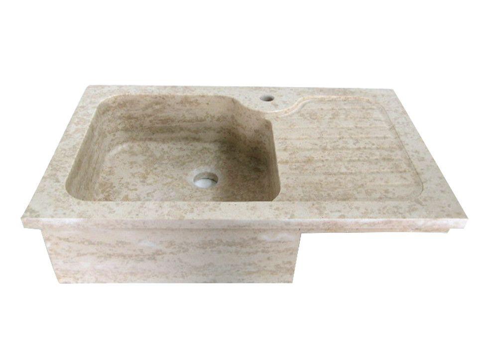 Lavello cucina in marmo ad una vasca con gocciolatoio laterale ...