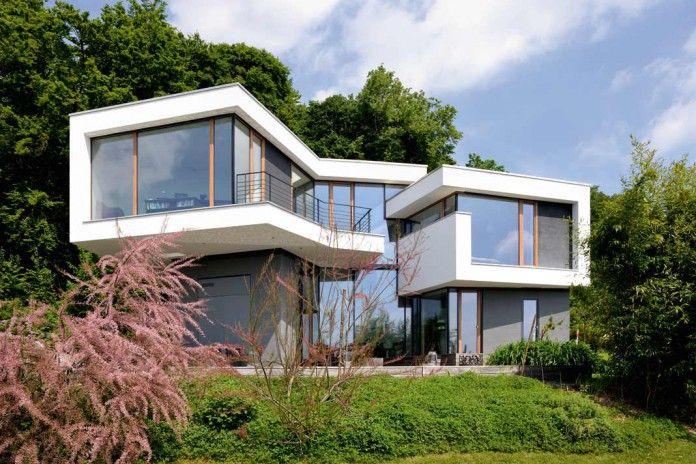 Dynamisches hangahaus wohnen haus modern und haus ideen - Moderne architektur hanghaus ...