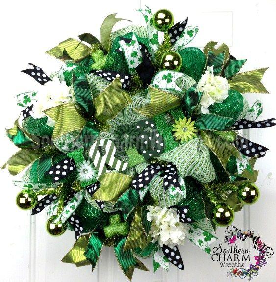 deco mesh st patrick 39 s day wreath irish sign emerald green lime green door wreath spring deco. Black Bedroom Furniture Sets. Home Design Ideas