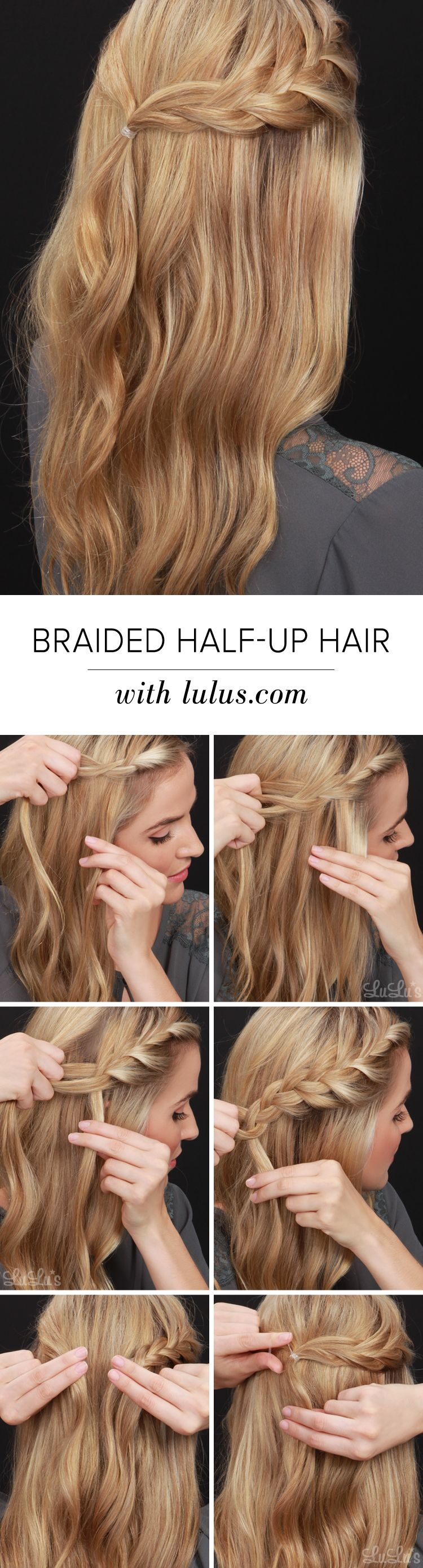 Half Up Half Down Hairstyle With Braid Tutorial Lulus Com Fashion Blog Hair Styles Long Hair Styles Half Up Hair
