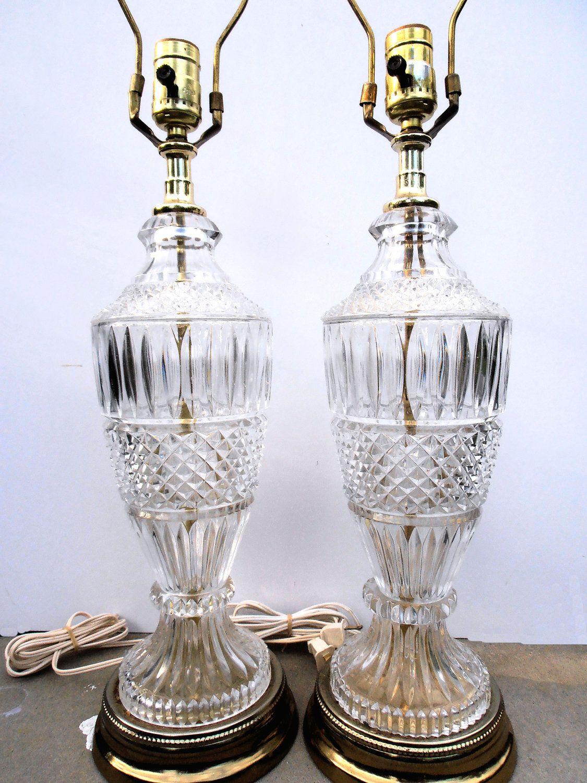Vintage crystal table lamp - Reserve Rosi Vintage Hollywood Regency Lamps Mid Century Lighting Vintage Crystal Lamps Crystal And Brass Lamps