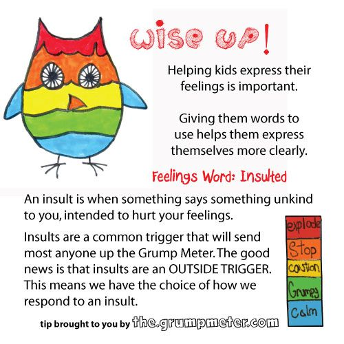 Feelings words for kids: Insulted. Help them learn how to manage ...