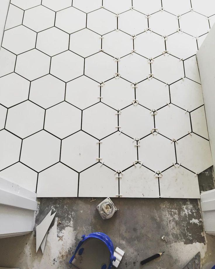 White Octagon Cement Tile In Bathroom Via Rafterhouse