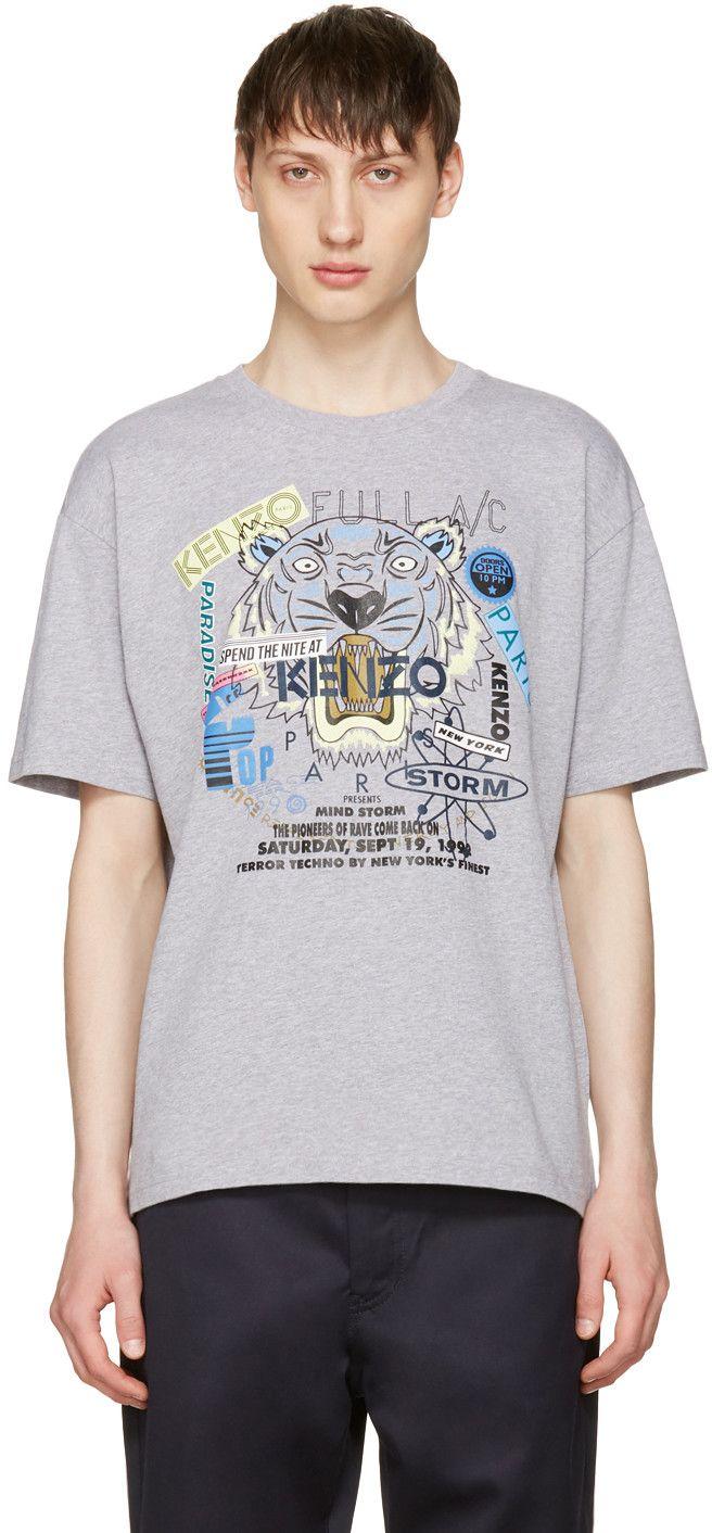 8c9dd2eb9cfa Kenzo Grey Limited Edition Flyer X Tiger T-Shirt