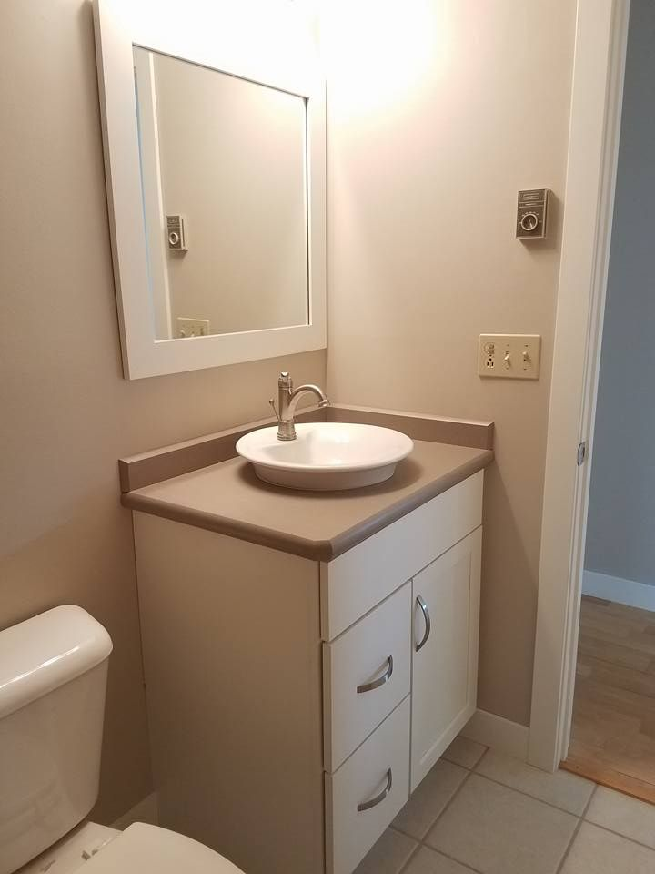 """Fresh Modern Powder Room Reveal Keys To Inspiration: Maple Painted """"Serenity White"""" With A """"Silver Quartzite"""
