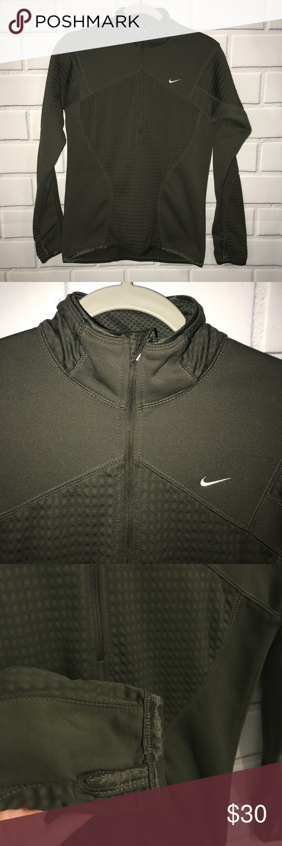 "Nike Therma Fit Womens Pullover Thumb Hole Olive Nike Therma Fit Womens Hoodie  Sweatshirt Pullover L S Thumb Hole Olive Green M Measures 18 1 2"" from  armpit ... 7d9f04608"