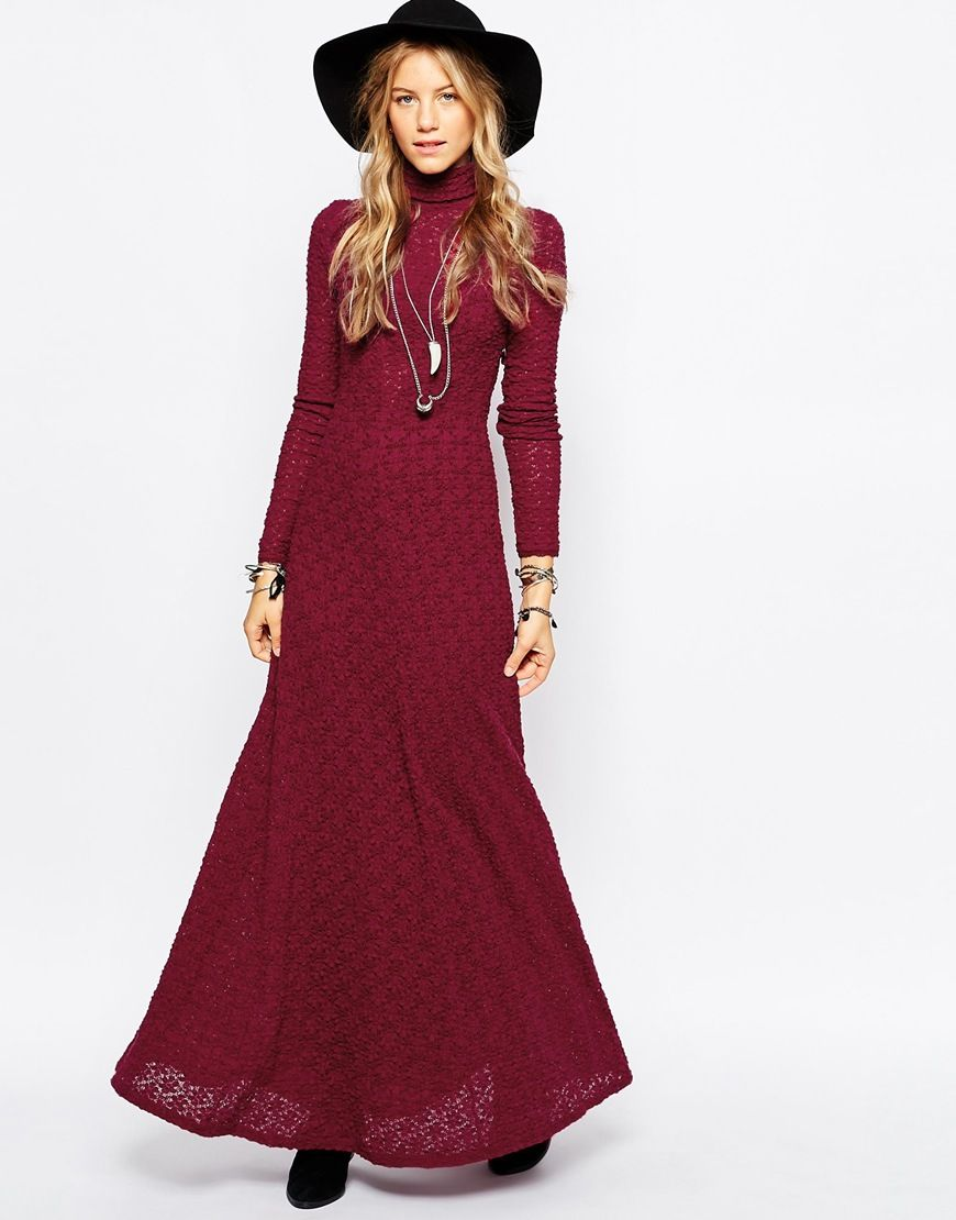 Free people flower knit lace maxi dress in burgundy fashion