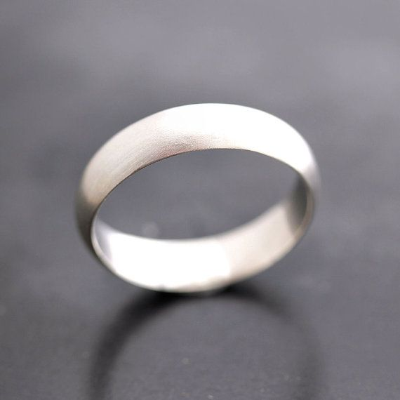 Mens Wedding Band Matte 5mm Half Round Brushed Unisex Recycled Metal Argentium Sterling Silver