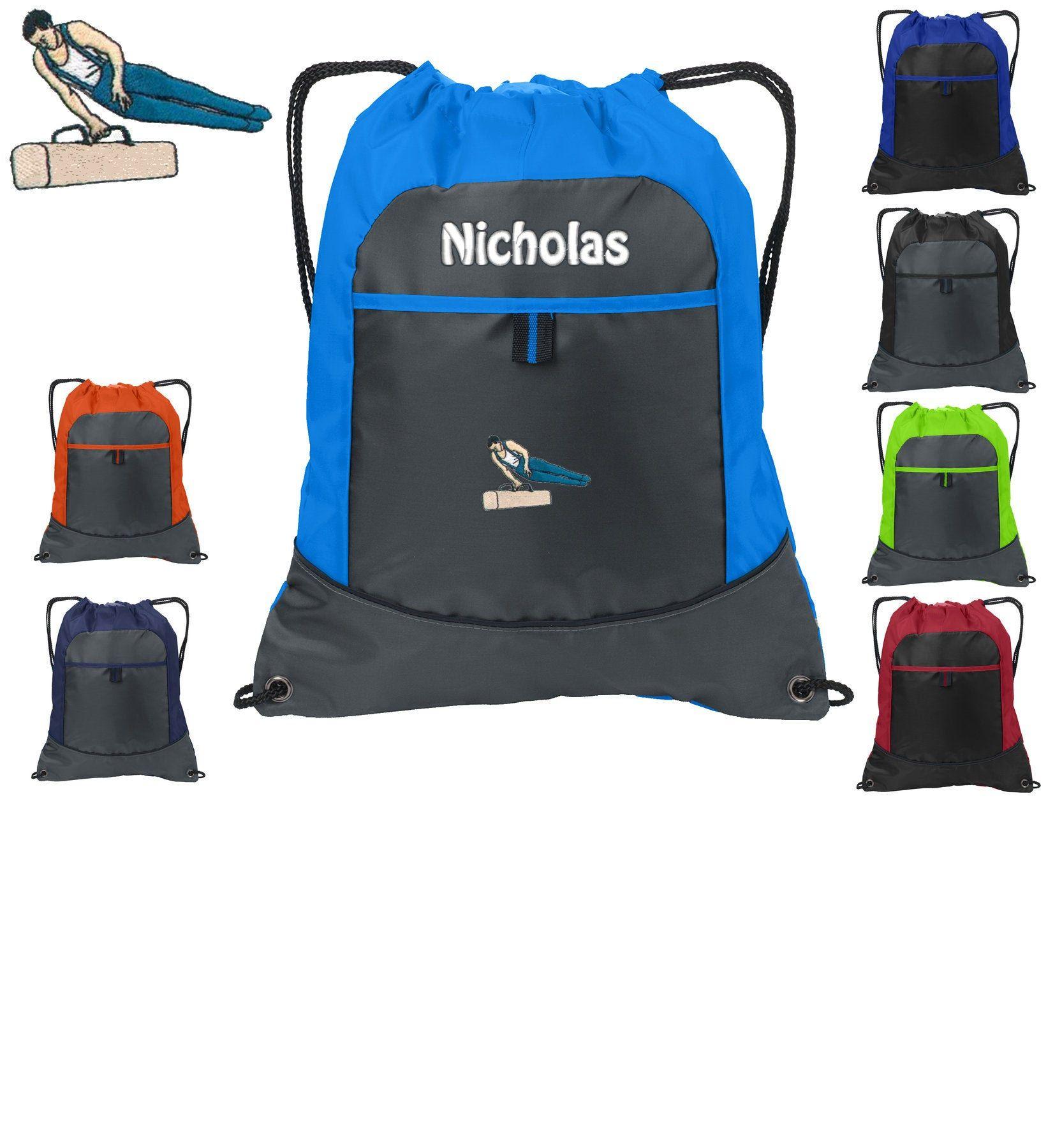 Personalized kids cinch pack drawstring gymnastics design