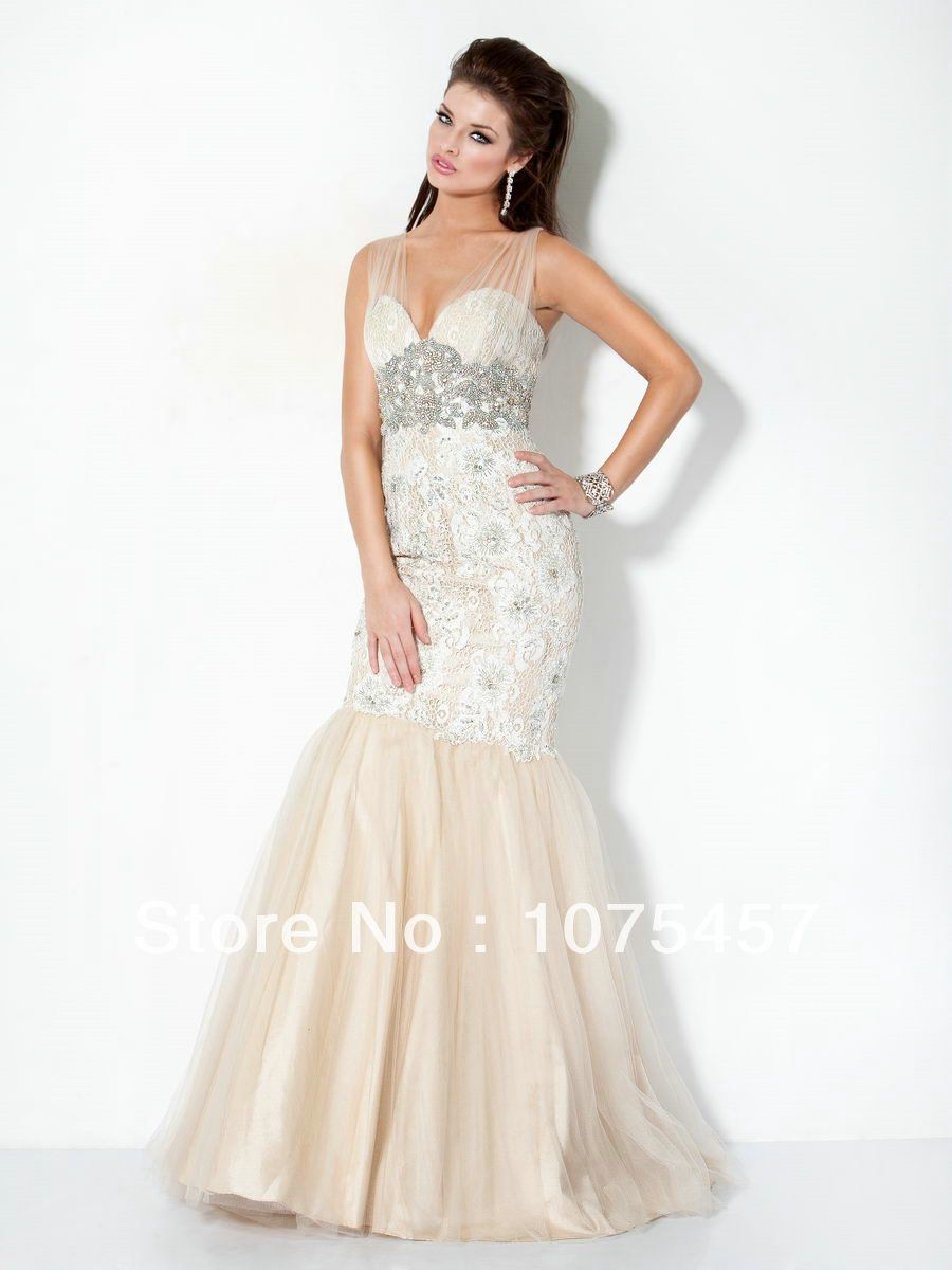Click to buy ucuc designer lace bodice prom dresses organza pleat