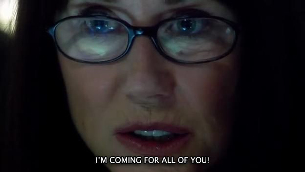 """Laura Roslin (Mary McDonnell) nell'episodio 4x14 (Blood On The Scales) di """"Battlestar Galactica""""."""
