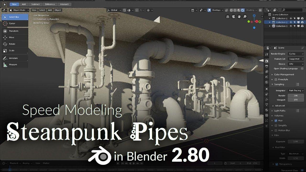 Blender 2 80 Speed Modeling - Steampunk Pipes (part V) | 3DModelling