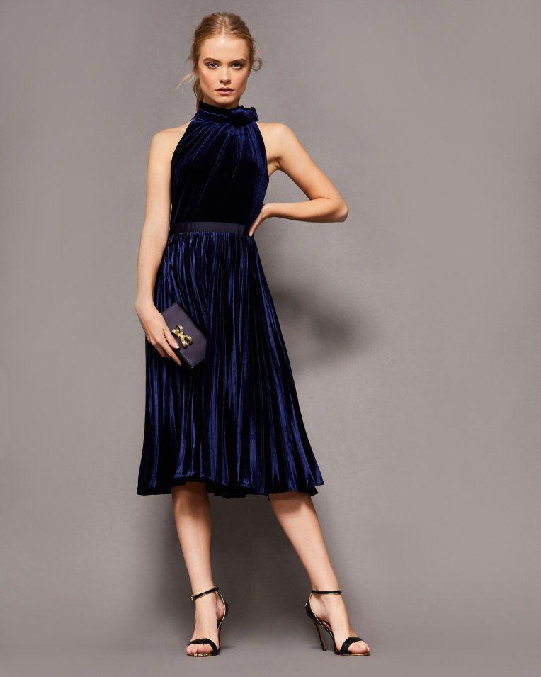 Pleated Velvet Midi Dress Dark Blue Dresses Ted Baker Formal