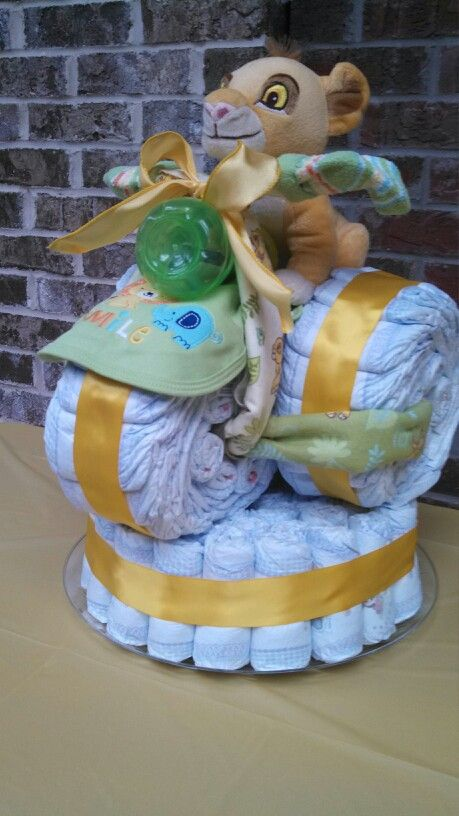 My Lion King tricycle diaper cake. Includes 112 Huggies ...