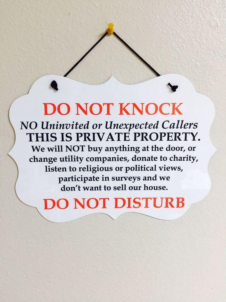 Do Not Knock Disturb No Soliciting Sign Plaque