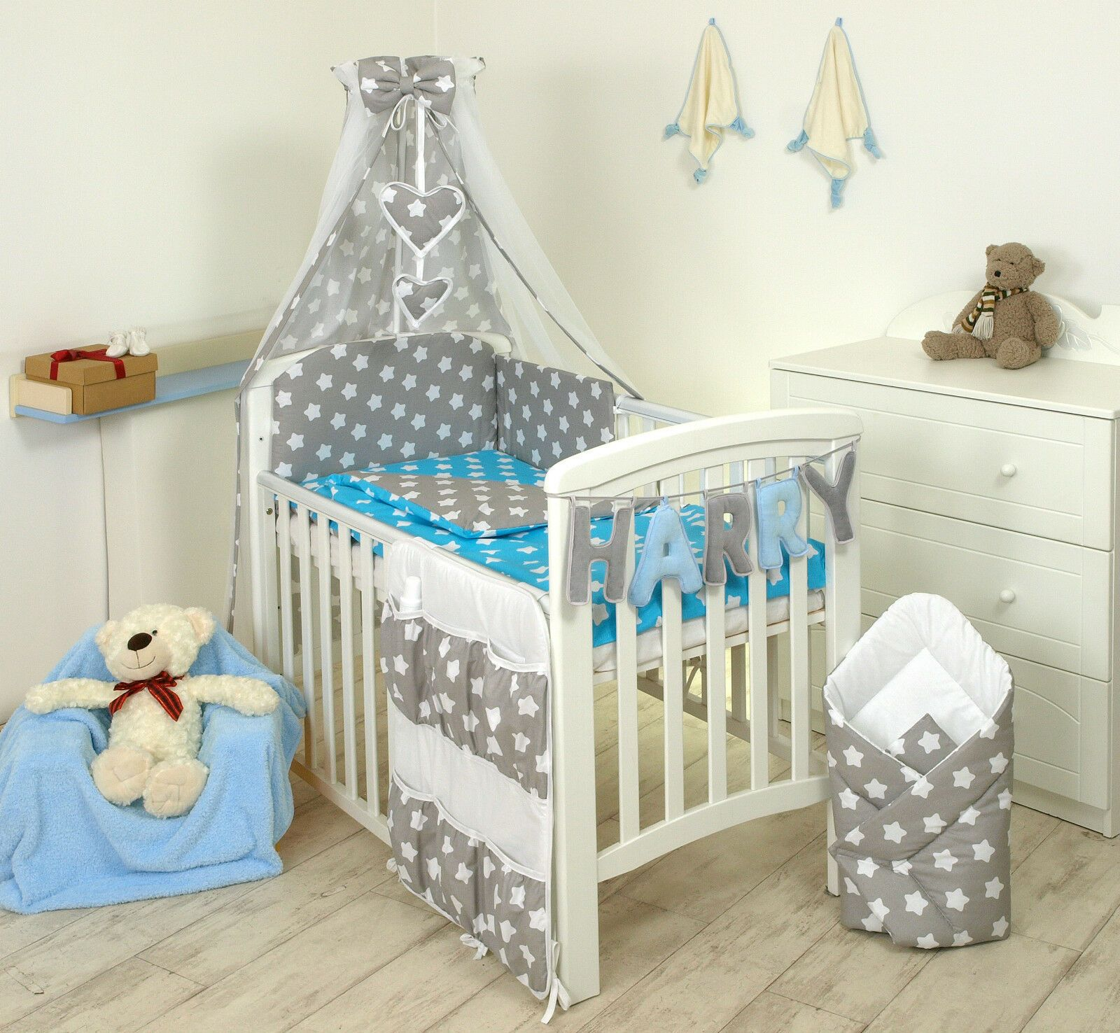 Stars On Grey Blue Baby Bedding Set Cot Cot Bed Covers Bumper