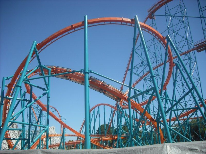Incredibly Intense Helix On Goliath Six Flags Magic Mountain California Made Me Grey Out Every Time Amusement Park Rides Roller Coaster Thrill Ride