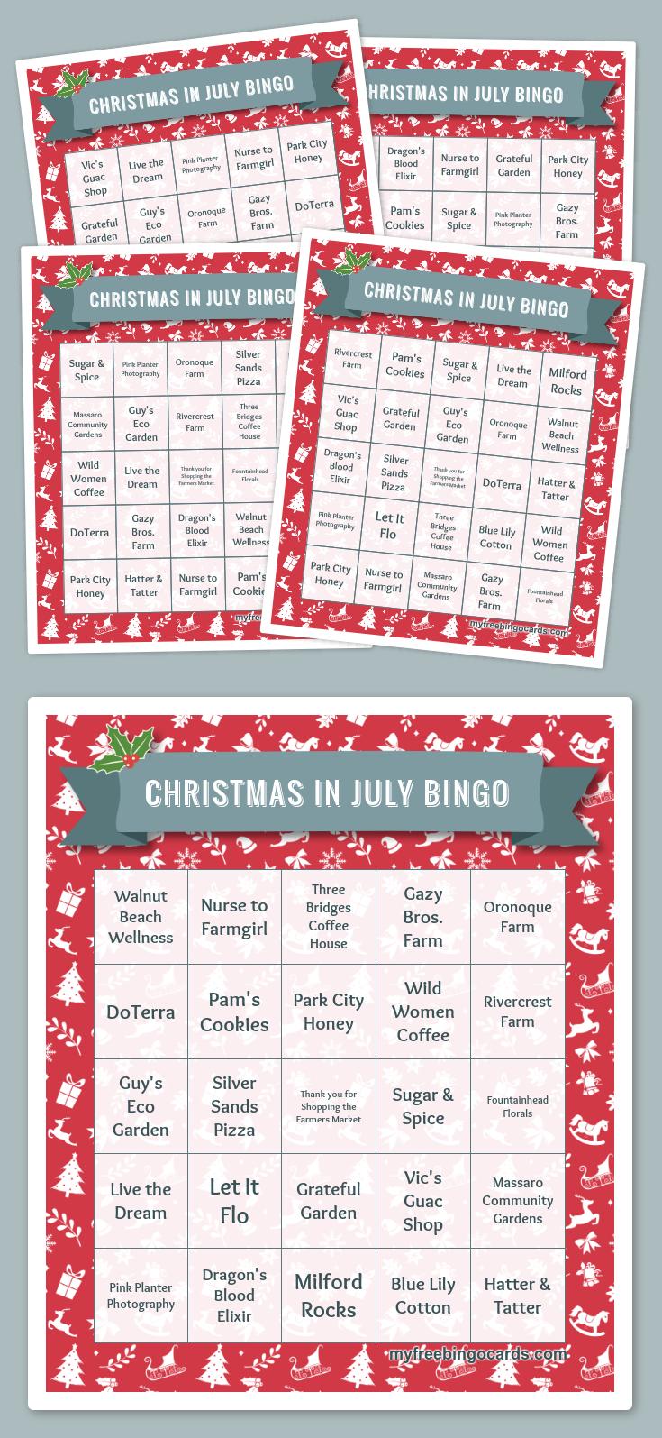 Christmas In July Bingo Free Printable Bingo Cards Bingo Cards Printable Holiday Bingo Cards