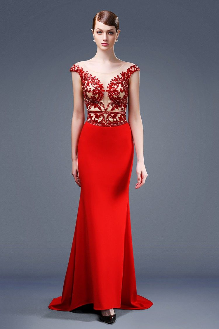 ec71229fa1f5 Sexy Mermaid Illusion Neckline Sheer Back Cap Sleeve Red Satin Beaded  Evening Dress