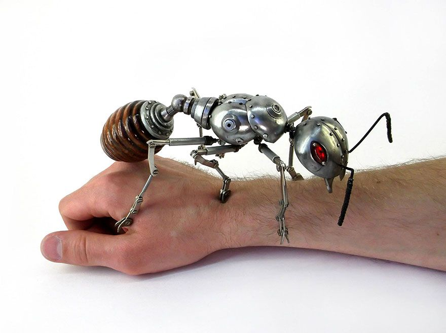 Russian artist Igor Verniy created steampunk animal sculptures from various pieces of scrap metal – old car parts, bike parts, clock movements, tableware, and anything else that fits.