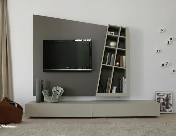 Modern Italian Design Wood TV Wall System: