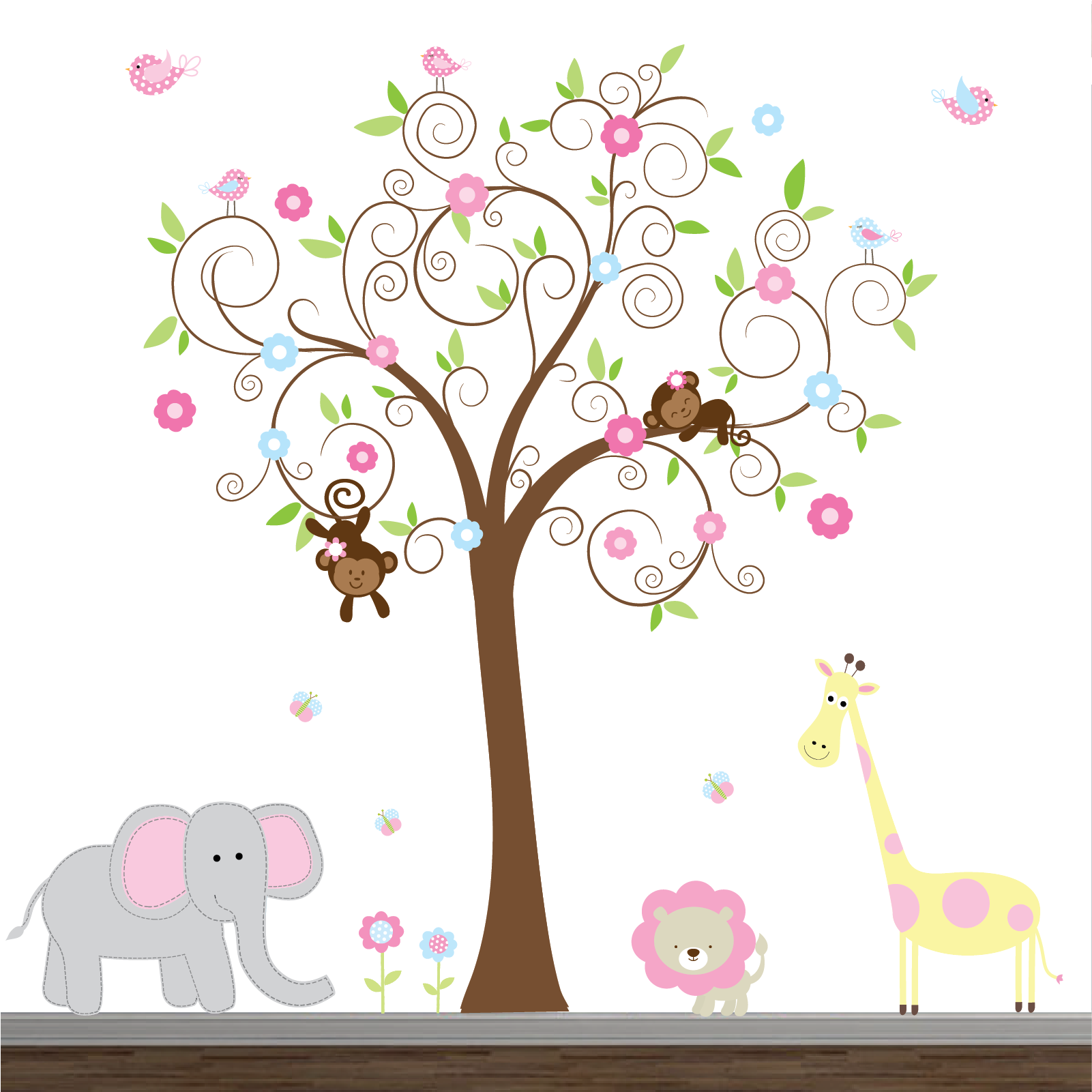 Jungle Vinyl Decals Nursery Wall Decal with Elephant Lion  sc 1 st  Pinterest & Girls Jungle Decal Set-Nursery Wall Decals https://www.etsy.com/shop ...