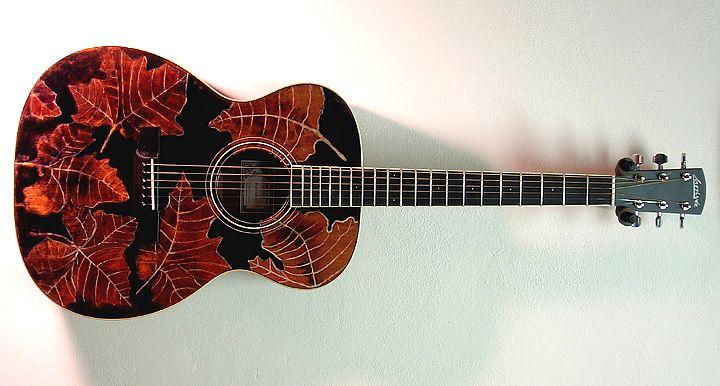 Larrivee om 03 mt sycamore leaf motif peter cree artwork for Acoustic guitar decoration ideas