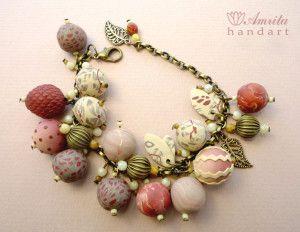 polymer Clay beads, fimo bracelet, masa flexible, cold porcelain, masa francesa, porcelana fria, porcellana freda