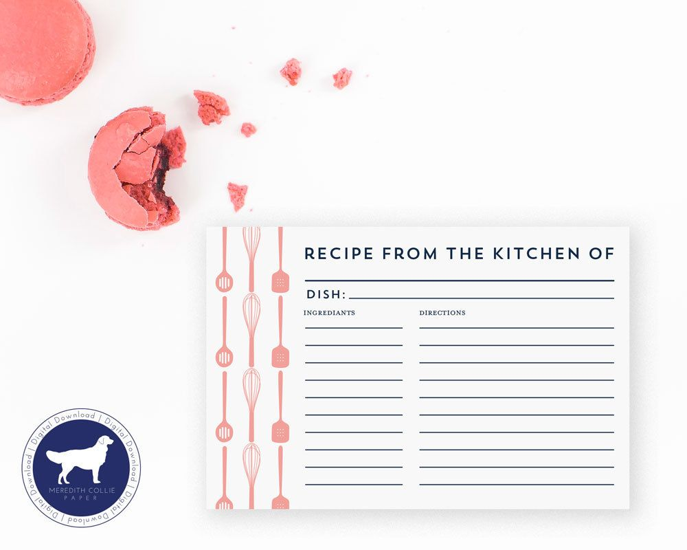 Kitchen Shower Recipe Card Instant Download Bridal Shower/PDF Digital by MeredithColliePaper on Etsy