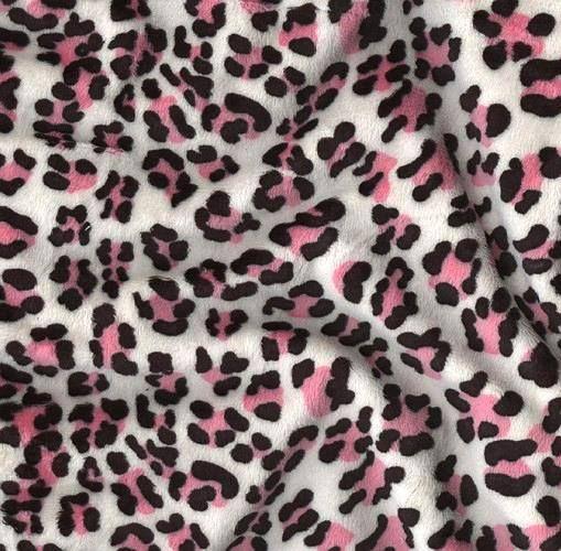 Pink White Leopard Minky