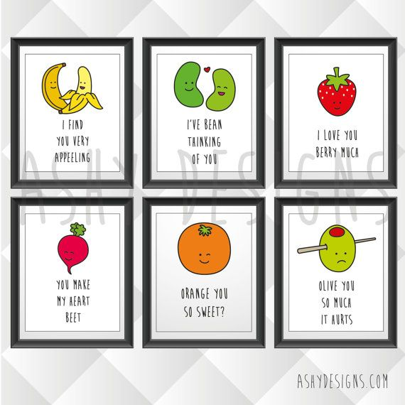 SET OF 4 - Funny Boyfriend Girlfriend Gift Idea - Fruit Veg Pun Artwork Designs 20x25cm 8x10in Prints - Four Piece Set for Nursery - FVS04