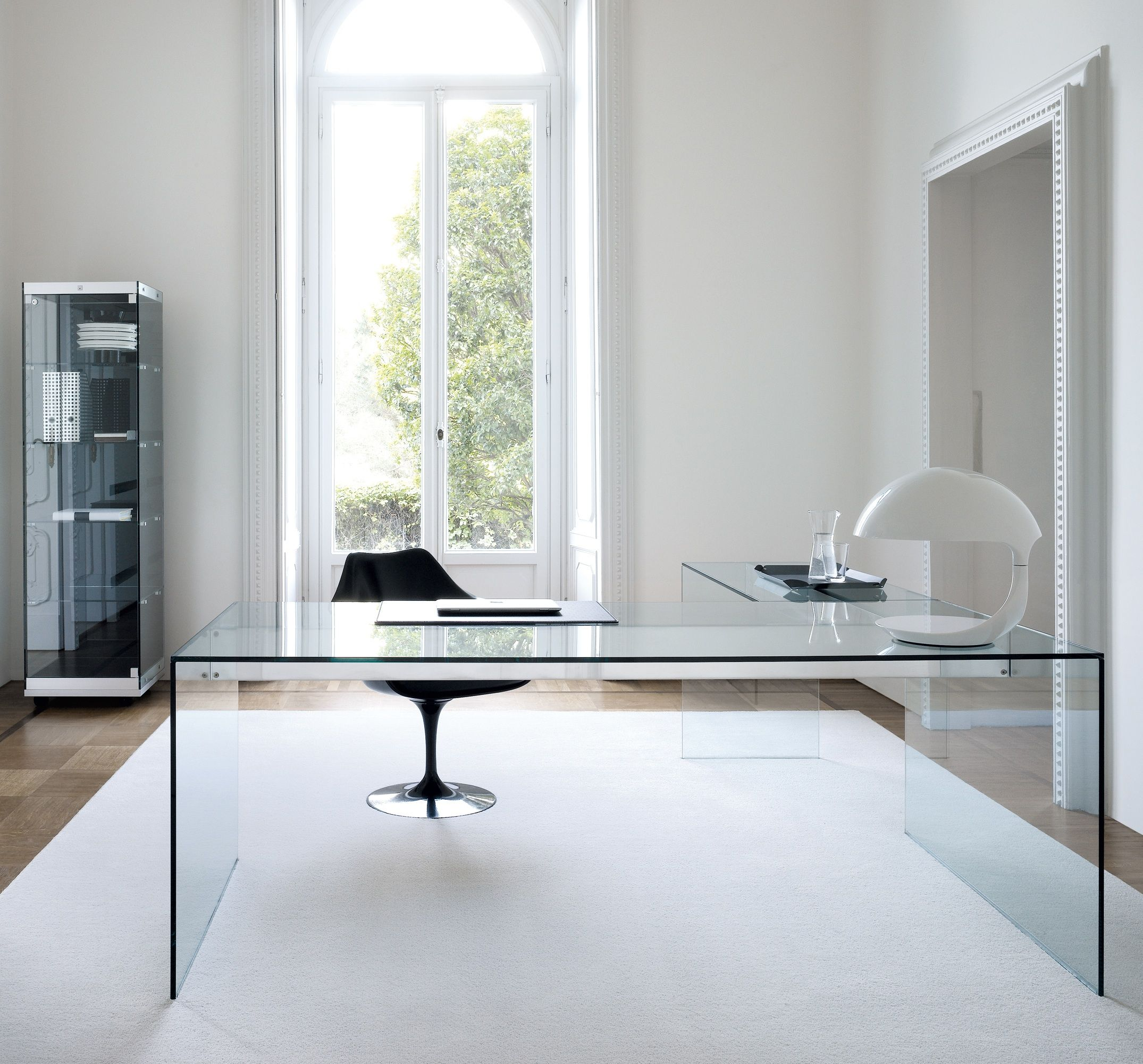 air glass desk l by gallotti radice thick slabs of toughened glass form a luxurious glass desk in an l shape for maximum work space - Modern Home Office Glass Desk