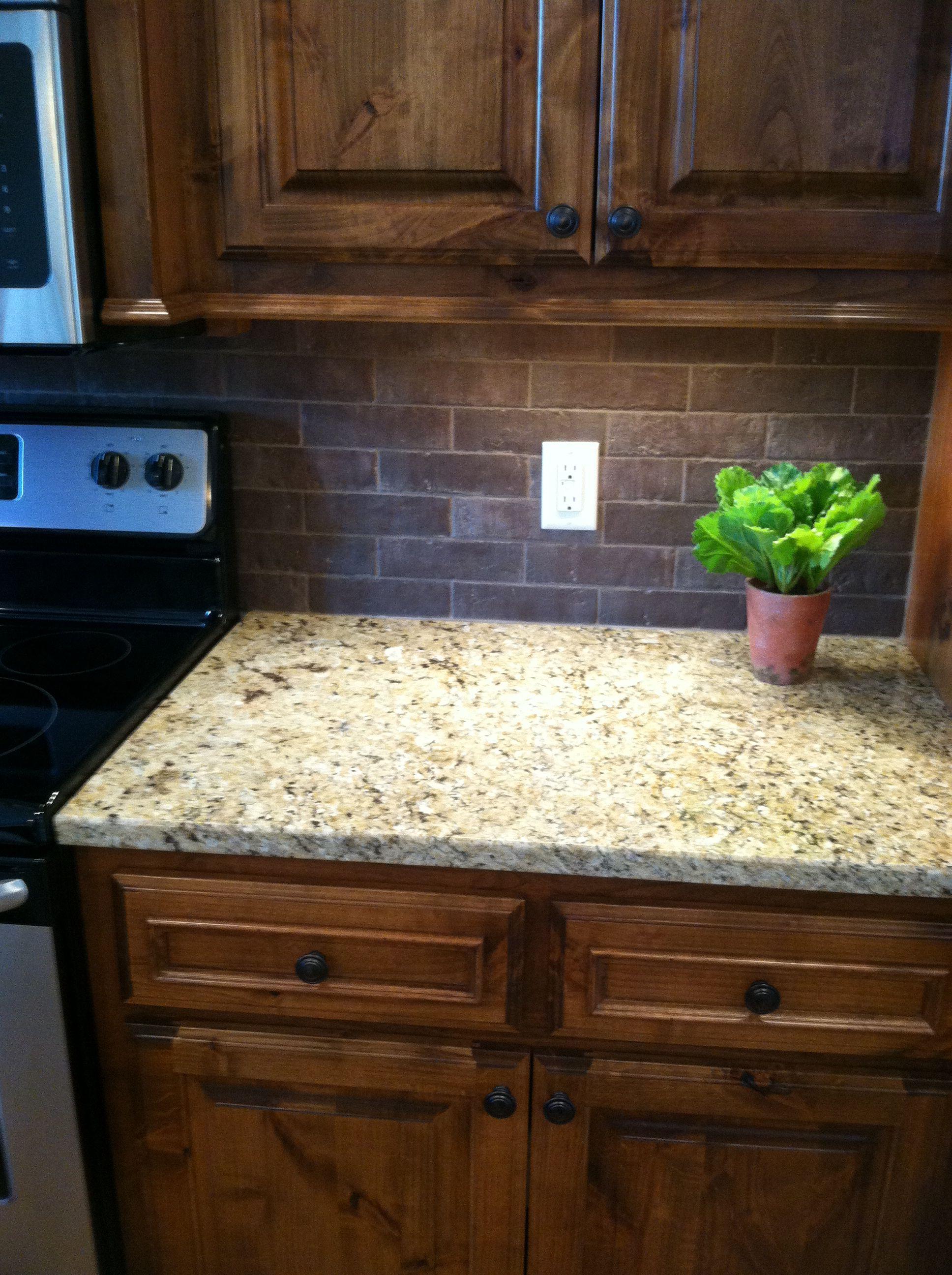 Shaker maple cabinets with brick backsplash | Maple ... on Backsplash With Maple Cabinets  id=65124
