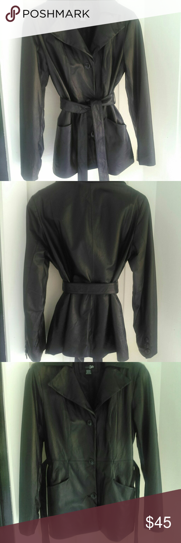 Black vintage genuine leather jacket Black ,genuine