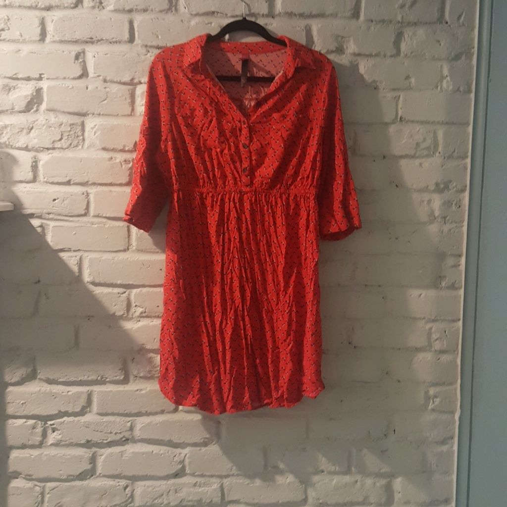 Red printed shirt dress length sleeve products