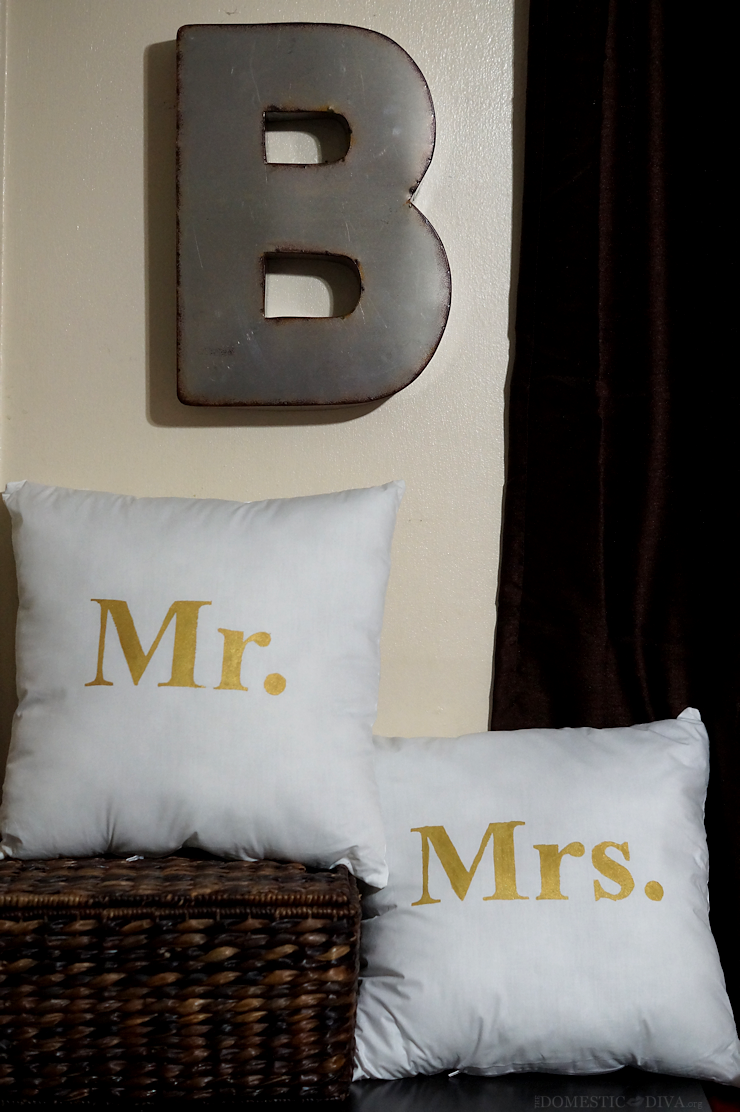 DIY Mr. and Mrs. Metallic Accent Pillows DIY Tutorial using Freezer Paper Stencils