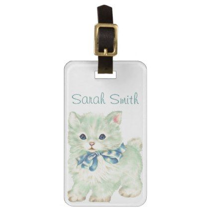 Vintage/Victorian Kitten Personnalised Luggage Tag - cat cats kitten kitty pet love pussy