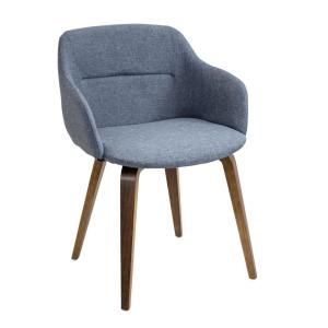 This Lumisource Campania Walnut And Blue Counter Chair Will Be A Cozy  Addition To Any Boardroom, Dining Room Or Game Room.