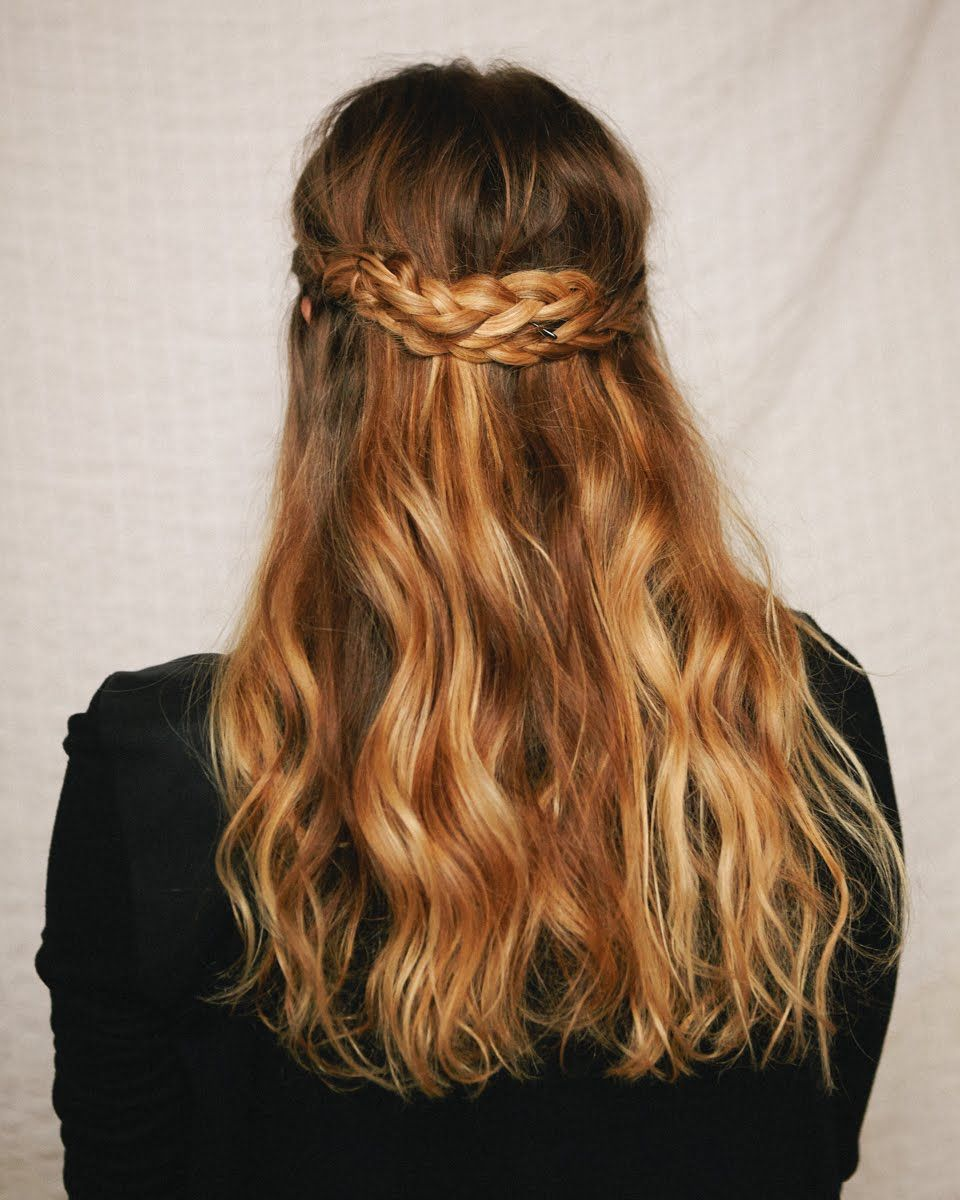 A cup of jo halfup braided crown love the hair color and great