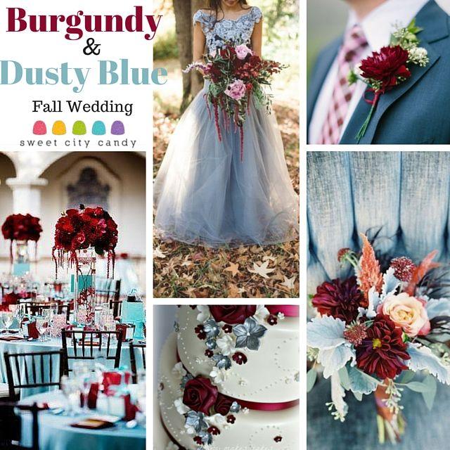 Burgundy And Dusty Blue Wedding Inspiration Www Sweetcitycandy